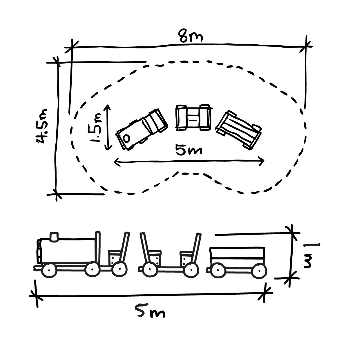 Train Set - 1 Engine, 1 Carriage, 1 Freight Car